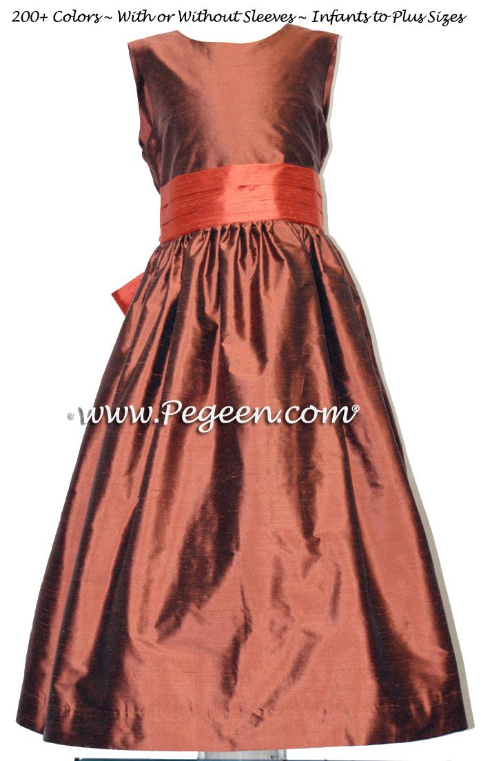 Oak and Sunset Orange Silk Custom Flower Girl Dress Style 398 | Pegeen