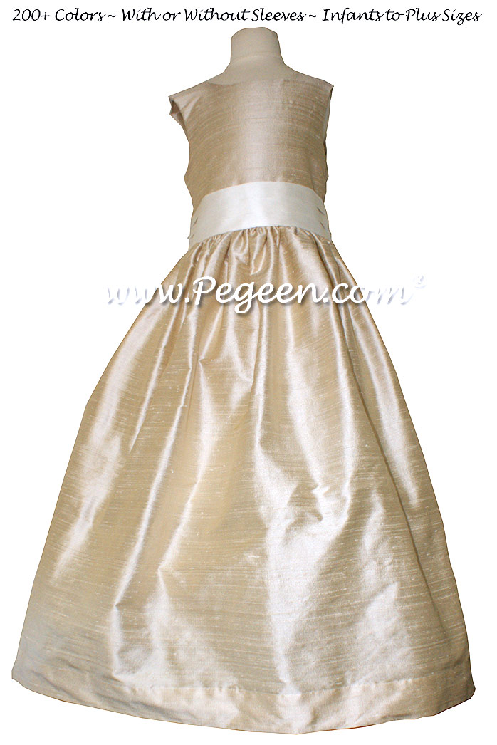 Oatmeal and Bisque SILK FLOWER GIRL DRESSES