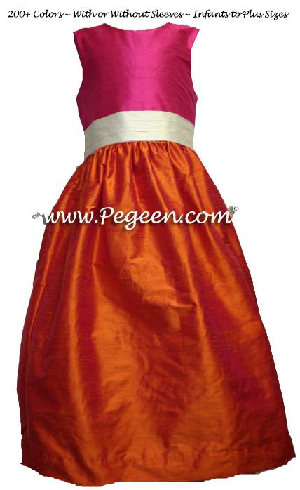 shock pink and orange FLOWER GIRL DRESSES