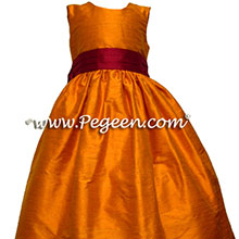 tangerine and cranberry flower girl dresses
