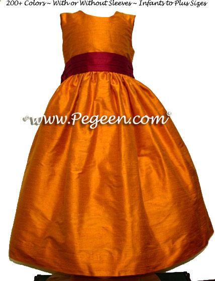 Tangerine and beauty flower girl dresses