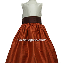 ORANGE AND CHOCOLATE BROWN FLOWER GIRL DRESS Style 398 by Pegeen