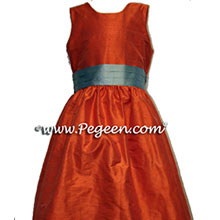 orange and caribbean blue flower girl dresses