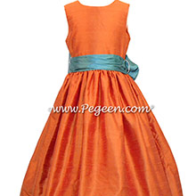 Pumpkin Orange and Blue Juniper flower girl dresses