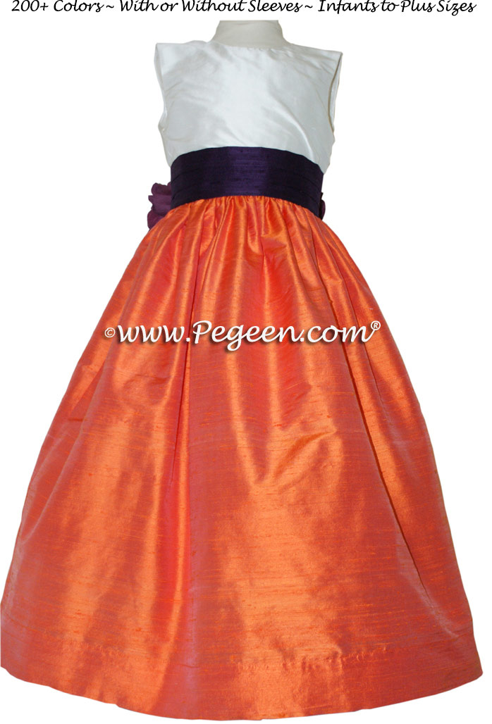 Orange and Sorbet Pink Orange Custom Flower Girl Dresses