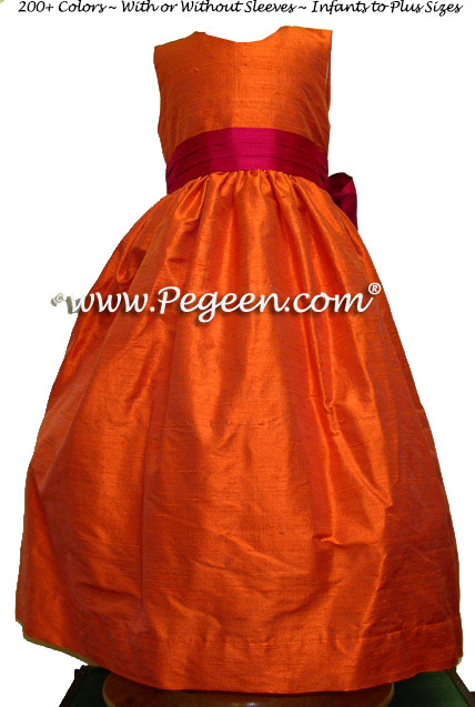 mango and sorbet sash flower girl dresses