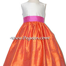 orange and hot pink silk flower girl dresses