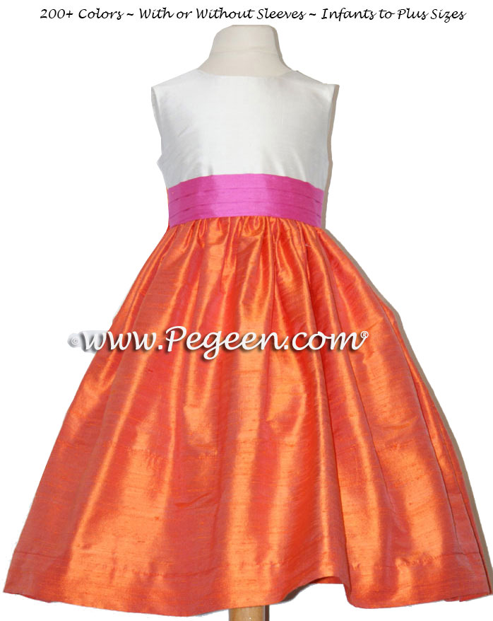 Flower girl dress in orange mango and shock pink | Pegeen