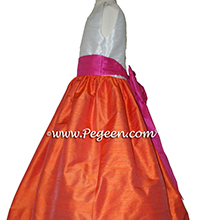 Orange and shock pink flower girl dresses in silk style 398 by Pegeen