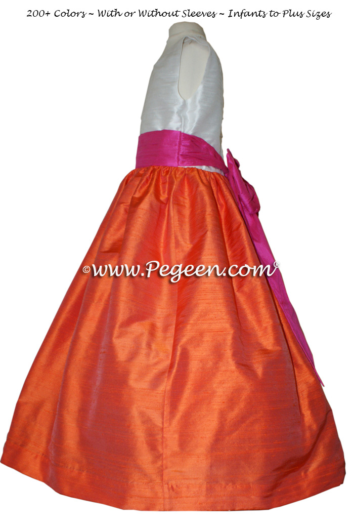 Orange and shock pink CUSTOM FLOWER GIRL DRESSES