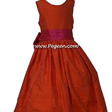 Orange and Sorbet Pink flower girl dresses in silk style 398
