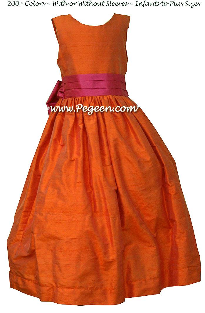 Orange and Sorbet Pink Orange Custom Flower Girl Dresses