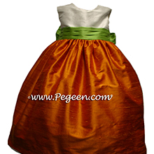 Orange and sprite green flower girl dresses