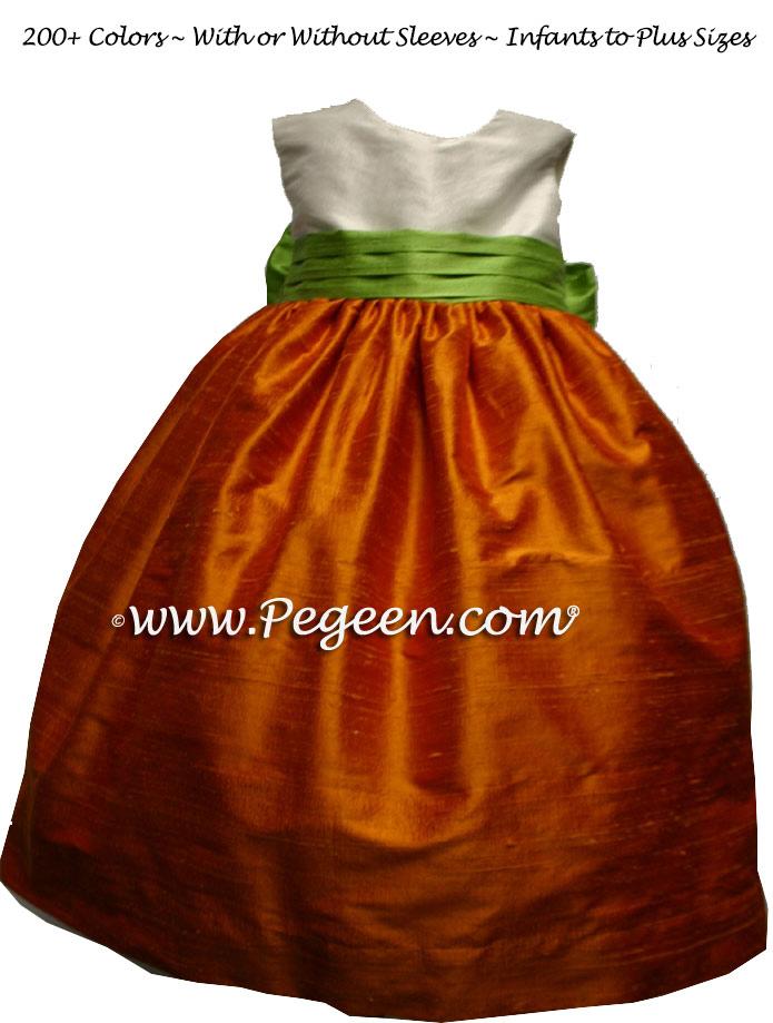 orange and sprite green flower girl dresses