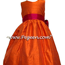 orange and cranberry flower girl dresses