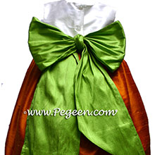 Pumpkin, White and Apple Custom Flower Girl Dress Style 398