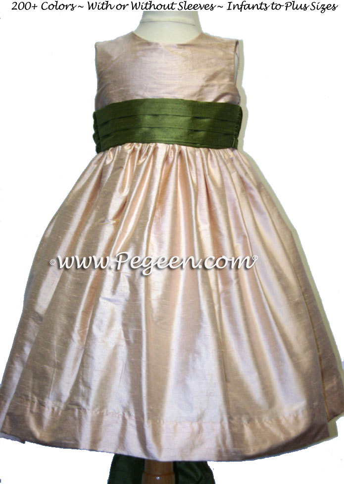 PEACH and OLIVE flower girl dresses