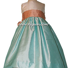 Tiffany blue and Peach sash Flower Girl Dresses style 398