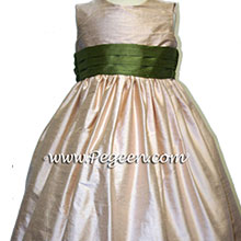 Peach and olive green silk  flower girl dresses