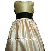 Peach and brown flower girl dresses