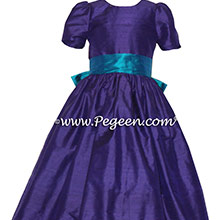 Royal Purple and Peacock Custom Silk Flower Girl Dresses