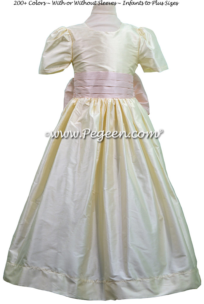 Custom Bisque and Peony pink silk Flower Girl Dresses
