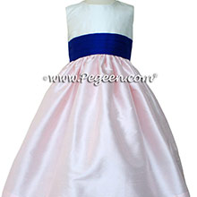 Ivory and Peony Pink and Saphire Blue Flower Girl dress style 398