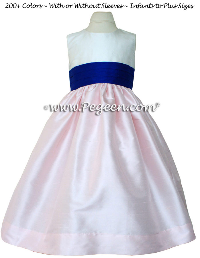 Ivory and Peony Pink and Saphire Blue Flower Girl dress style 398 by Pegeen