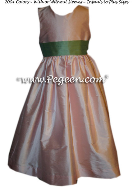 Martha Green and Petal Pink Flower Girl Dress Classic Style 398 | Pegeen