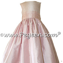 Peony and Petal Pink Custom Silk flower girl dress - Style 398