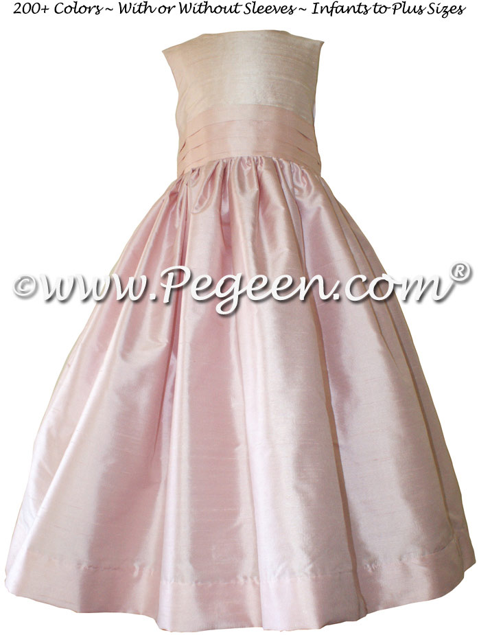Peony Pink, Champagne Pink and Petal Pink Silk flower girl dresses