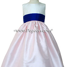 Flower Girl Dress in Ivory and Peony Pink and Sapphire Blue Style 398