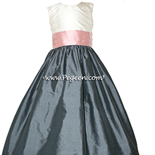 medium gray and peony pink flower girl dresses in silk style 398 by Pegeen