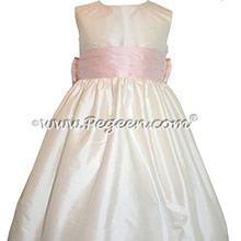 New Ivory and Petal Pink flower girl dresses Style 398 by Pegeen