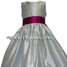 platinum and flamingo flower girl dresses