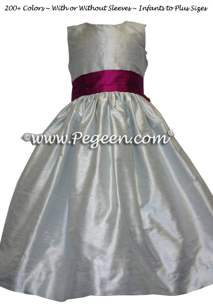 flamingo and platinum flower girl dresses