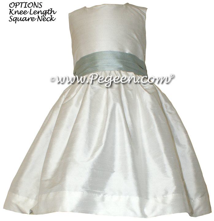 PLATINUM GRAY CUSTOM Flower Girl Dresses WITH PUFF SLEEVES