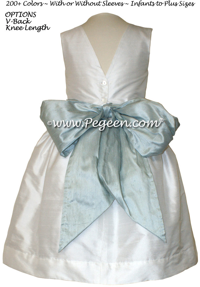 Ivory and Platinum Gray Flower Girl dress style 398 by Pegeen