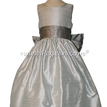 Silver Gray and Platinum flower girl dresses Style 398