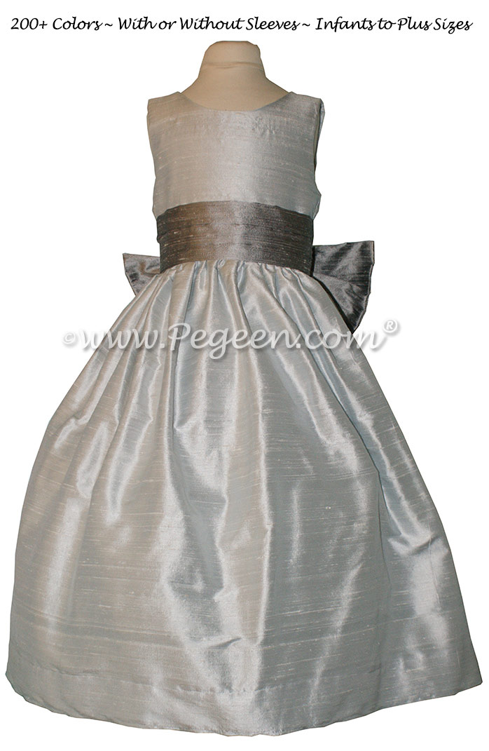 Silver Gray and Platinum flower girl dresses