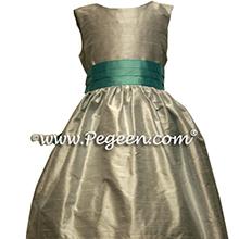 Platinum Gray and  Tiffany Blue Custom Flower Girl Dress