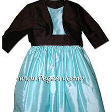 Tiffany blue POND and Semi-Sweet brown sash flower girl dresses style 398