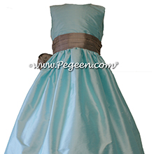 Tiffany blue and Silver Gray sash Flower Girl Dresses style 398