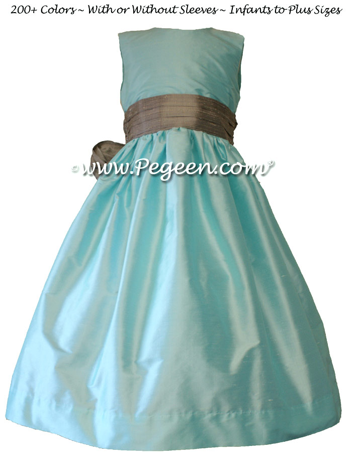 flower girl dresses in tiffany blue pond and silver gray