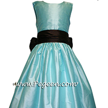 Tiffany blue POND and Semi Sweet Brown flower girl dresses