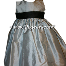 Custom blue and black flower girl dresses