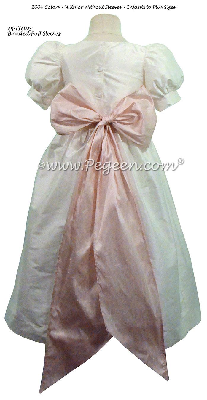 Custom white and Peony pink silk Flower Girl Dresses