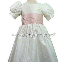 Peony Pink Flower Girl Dresses with Puff Sleeve - Pegeen style 398