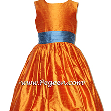ARIAL BLUE AND PUMPKIN flower girl dresses