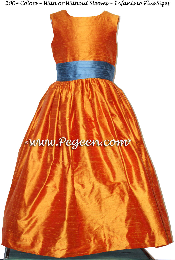 Pumpkin and Arial Blue Silk Flower Girl Dresses with Back Flowers Style 383